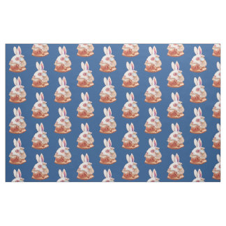 white Rabbit Pop Surrealism Illustration fabric