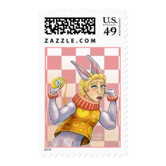 White Rabbit Postage Stamp