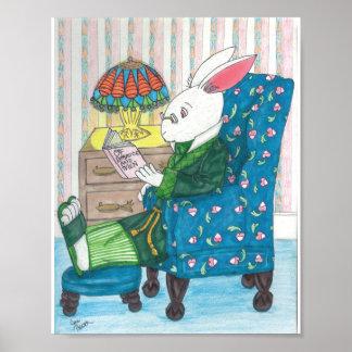 White Rabbit Relaxes Poster