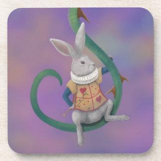White Rabbit Rose Thorns Alice in Wonderland Coaster