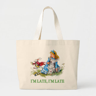"""White Rabbit Rushes by Alice, """"i'm Late, I'm Late"""" Tote Bags"""
