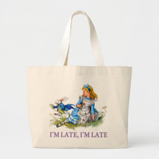 """White Rabbit Rushes by Alice, """"i'm Late, I'm Late"""" Canvas Bags"""
