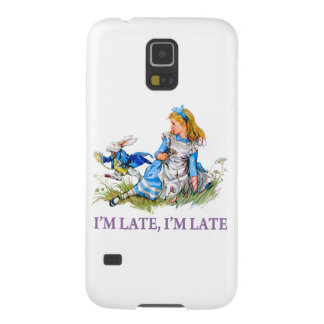 """White Rabbit Rushes by Alice, """"i'm Late, I'm Late"""" Galaxy S5 Cover"""