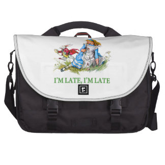 """White Rabbit Rushes by Alice, """"i'm Late, I'm Late"""" Laptop Messenger Bag"""