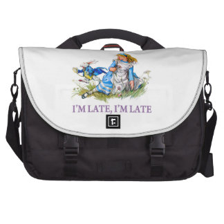 """White Rabbit Rushes by Alice, """"i'm Late, I'm Late"""" Laptop Bag"""