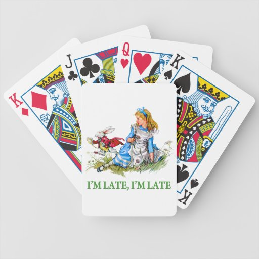 """White Rabbit Rushes by Alice, """"i'm Late, I'm Late"""" Poker Cards"""