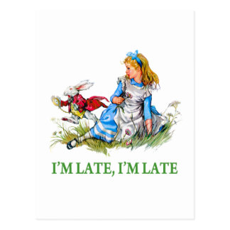 "White Rabbit Rushes by Alice, ""i'm Late, I'm Late"" Postcard"