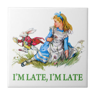 """White Rabbit Rushes by Alice, """"i'm Late, I'm Late"""" Tile"""