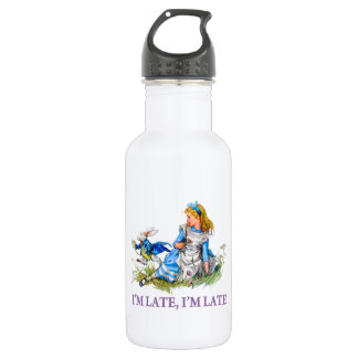 """White Rabbit Rushes by Alice, """"i'm Late, I'm Late"""" Water Bottle"""