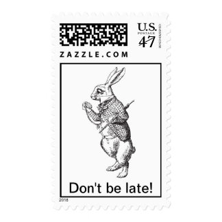 White rabbit says Don't be late! from Alice Postage