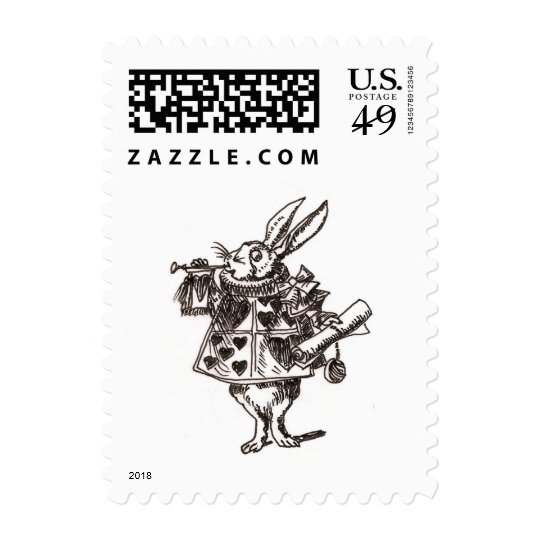 white rabbit sketch small postage