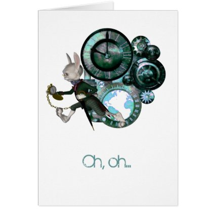 White Rabbit Steampunk Belated Birthday Card