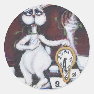 White Rabbit Classic Round Sticker