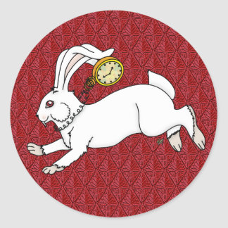 White Rabbit Stickers Red BG