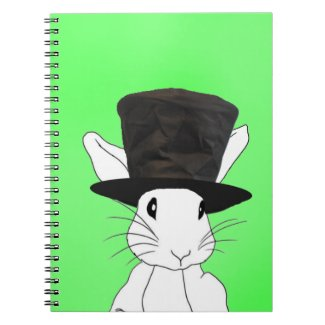 White Rabbit Top Hat on Green Notebook