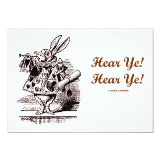 White Rabbit Trumpet Hear Ye! Hear Ye! Wonderland 5x7 Paper Invitation Card