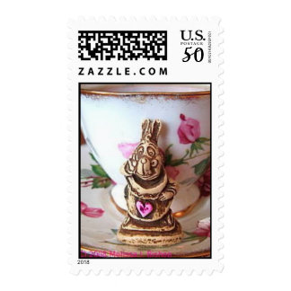 White Rabbit w/Pink Heart on cup and saucer Postage