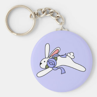 White Rabbit With Blue Ribbon T-shirts and Gifts Keychains