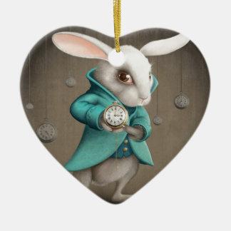 white rabbit with clock ceramic ornament