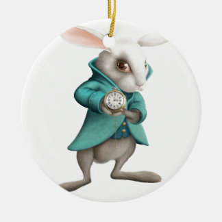 White rabbit with clock Double-Sided ceramic round christmas ornament