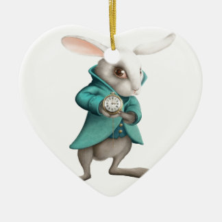 White rabbit with clock Double-Sided heart ceramic christmas ornament