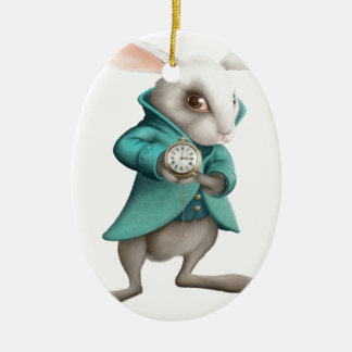 White rabbit with clock Double-Sided oval ceramic christmas ornament