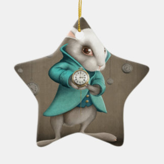 white rabbit with clock Double-Sided star ceramic christmas ornament