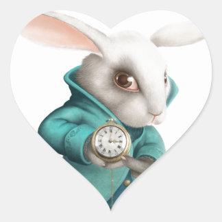 White rabbit with clock heart sticker