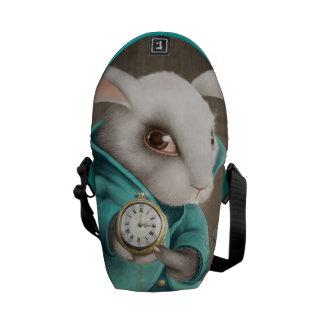 white rabbit with clock messenger bag