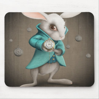 white rabbit with clock mouse pad