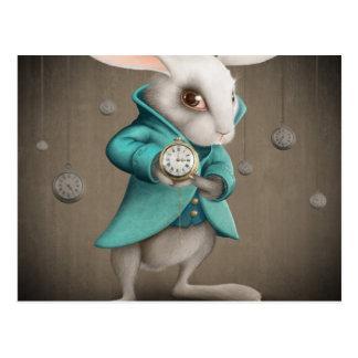 white rabbit with clock postcard