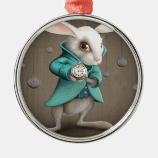 white rabbit with clock round metal christmas ornament