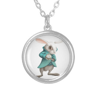 White rabbit with clock round pendant necklace
