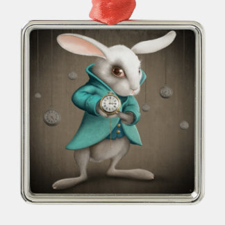 white rabbit with clock square metal christmas ornament
