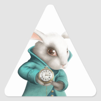 White rabbit with clock triangle stickers