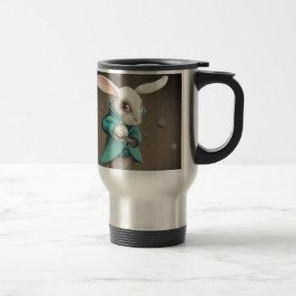 white rabbit with clock travel mug