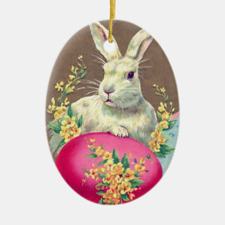 WHITE RABBIT WITH EASTER EGG AND SPRING FLOWERS CERAMIC ORNAMENT