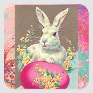 WHITE RABBIT WITH EASTER EGG AND SPRING FLOWERS SQUARE STICKER