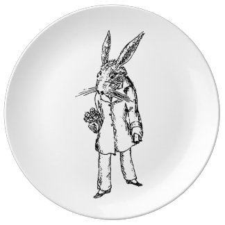 White Rabbit with Flowers Plate Porcelain Plates