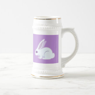 White Rabbit With Long Ears Art 18 Oz Beer Stein