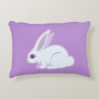 White Rabbit With Long Ears Art Accent Pillow