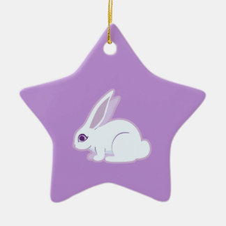 White Rabbit With Long Ears Art Ceramic Ornament