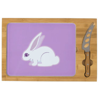 White Rabbit With Long Ears Art Cheese Board