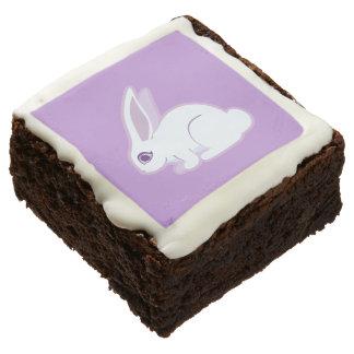 White Rabbit With Long Ears Art Chocolate Brownie