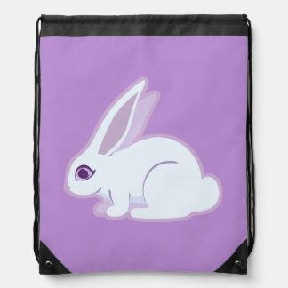 White Rabbit With Long Ears Art Drawstring Bag