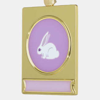 White Rabbit With Long Ears Art Gold Plated Banner Ornament