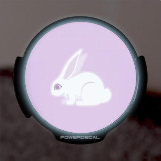 White Rabbit With Long Ears Art LED Window Decal