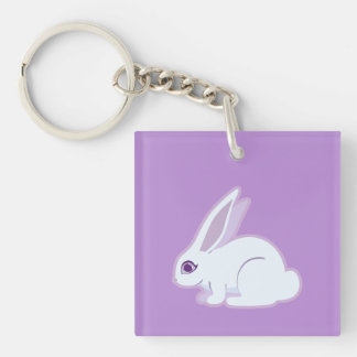 White Rabbit With Long Ears Art Keychain