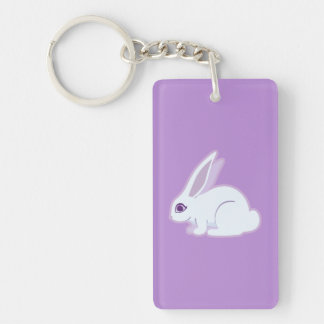 White Rabbit With Long Ears Art Double-Sided Rectangular Acrylic Keychain