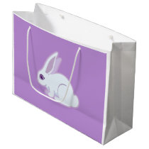White Rabbit With Long Ears Art Large Gift Bag